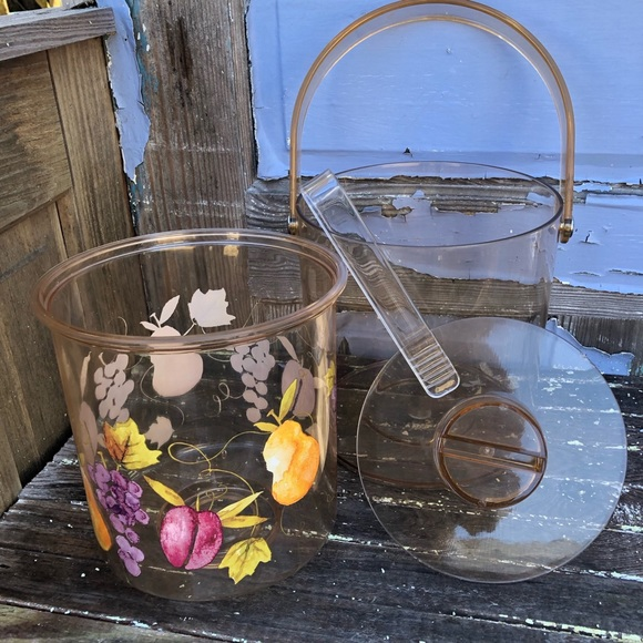 Vintage Fruit Clear Amber Colored Ice Bucket Tongs